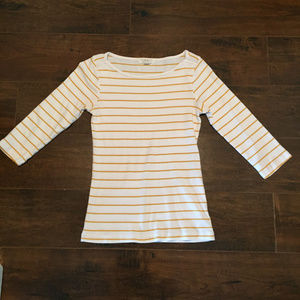 Gold and White Stripe Three Quarter Length Sleeves